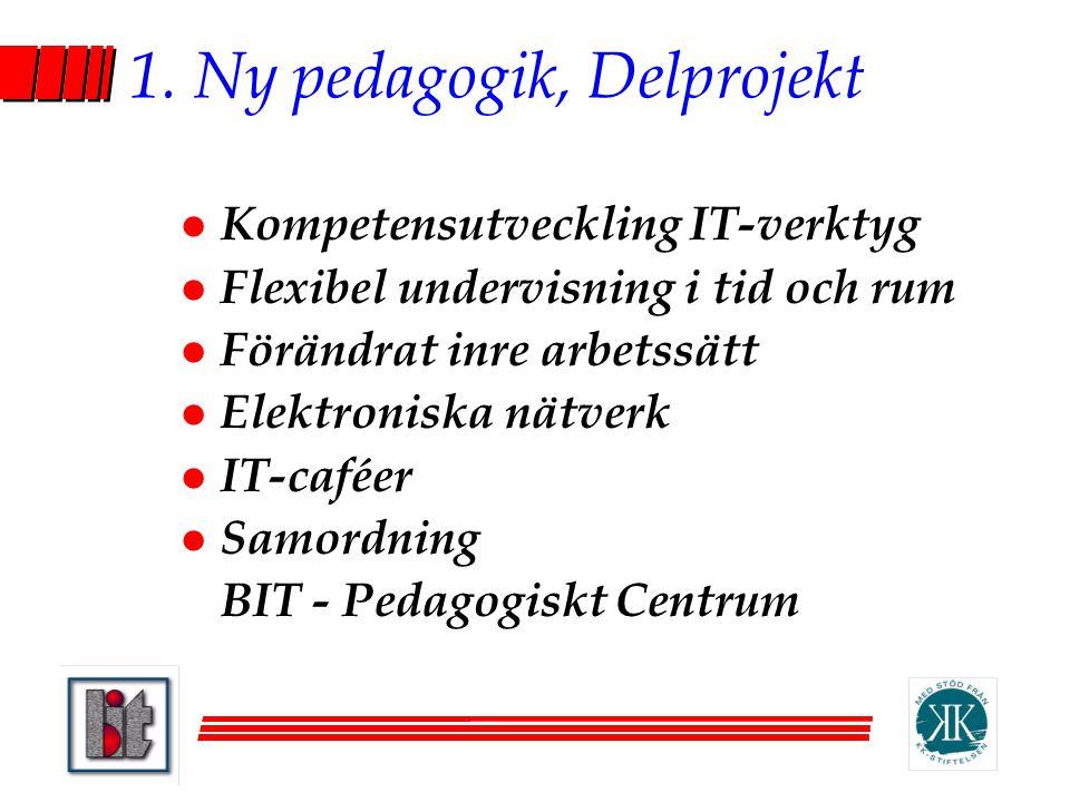 1. Ny pedagogik, Delprojekt l Kompetensutveckling IT-verktyg l Flexibel undervisning i tid och rum l Förändrat inre arbetssätt l Elektroniska nätverk