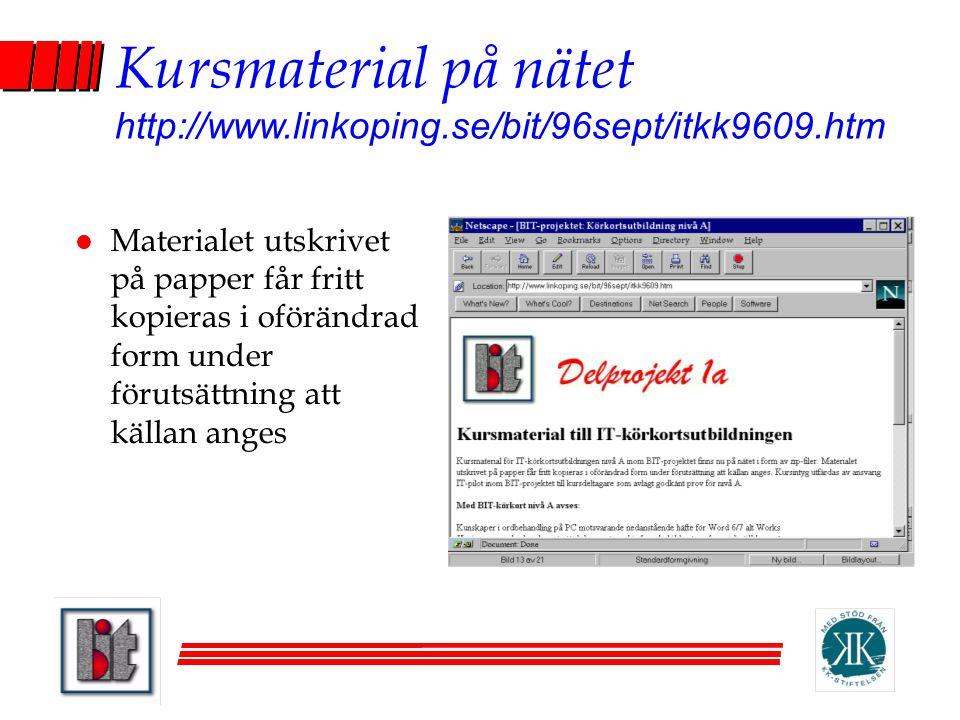 Kursmaterial på nätet http://www.linkoping.se/bit/96sept/itkk9609.htm l Materialet utskrivet på papper får fritt kopieras i oförändrad form under föru