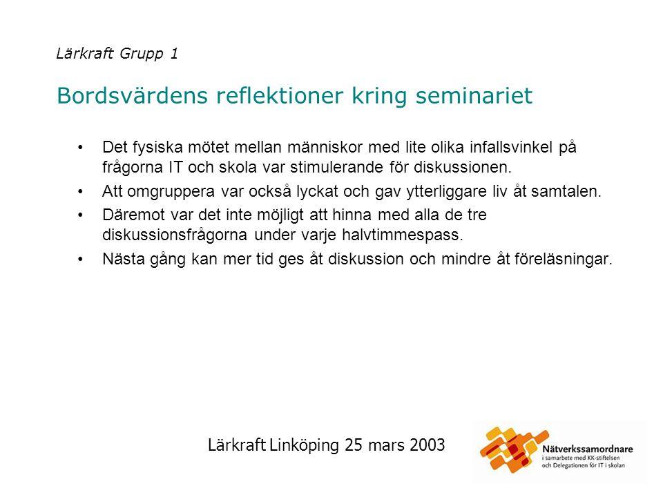 Lärkraft Linköping 25 mars 2003 Lärkraft Grupp 1 Bordsvärdens reflektioner kring seminariet Det fysiska mötet mellan människor med lite olika infallsv