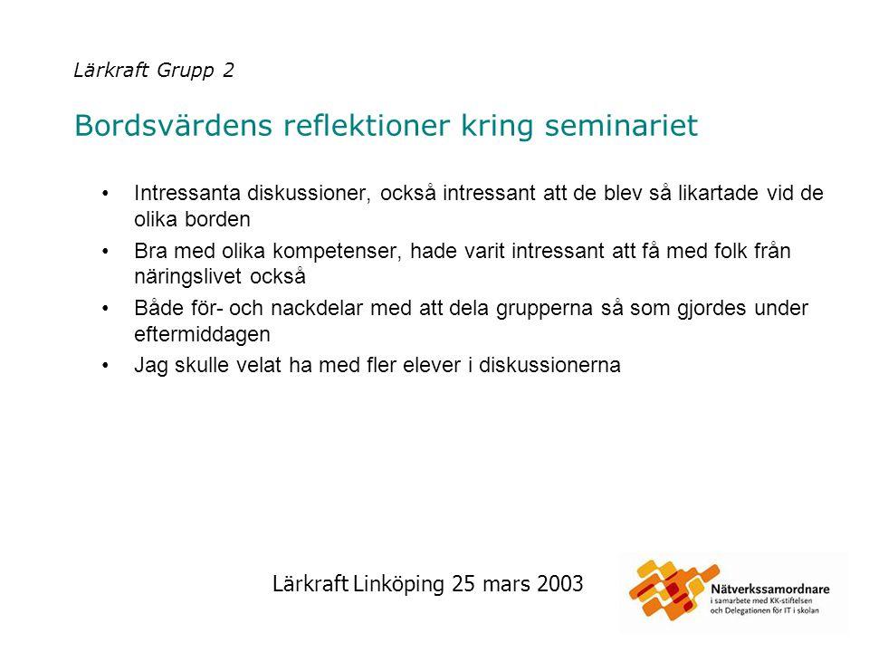 Lärkraft Linköping 25 mars 2003 Lärkraft Grupp 2 Bordsvärdens reflektioner kring seminariet Intressanta diskussioner, också intressant att de blev så
