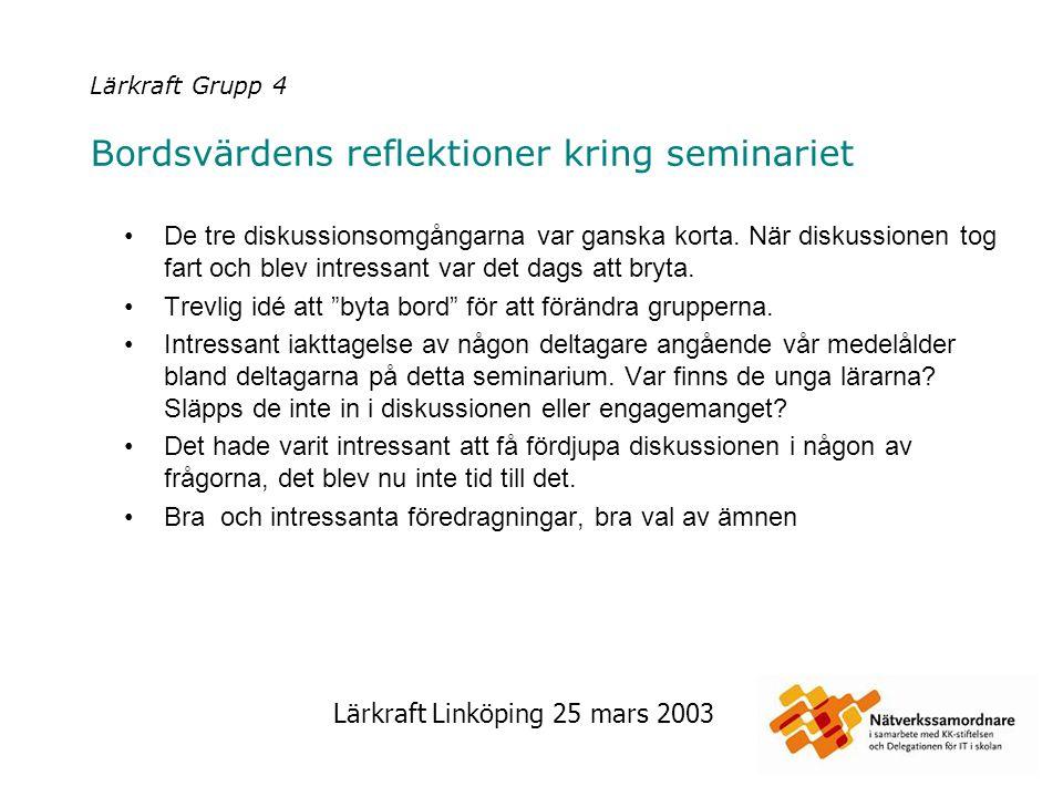 Lärkraft Linköping 25 mars 2003 Lärkraft Grupp 4 Bordsvärdens reflektioner kring seminariet De tre diskussionsomgångarna var ganska korta. När diskuss