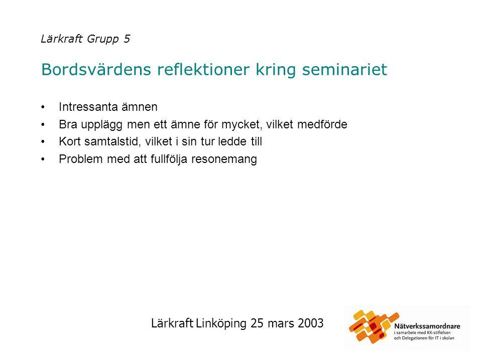 Lärkraft Linköping 25 mars 2003 Lärkraft Grupp 5 Bordsvärdens reflektioner kring seminariet Intressanta ämnen Bra upplägg men ett ämne för mycket, vil