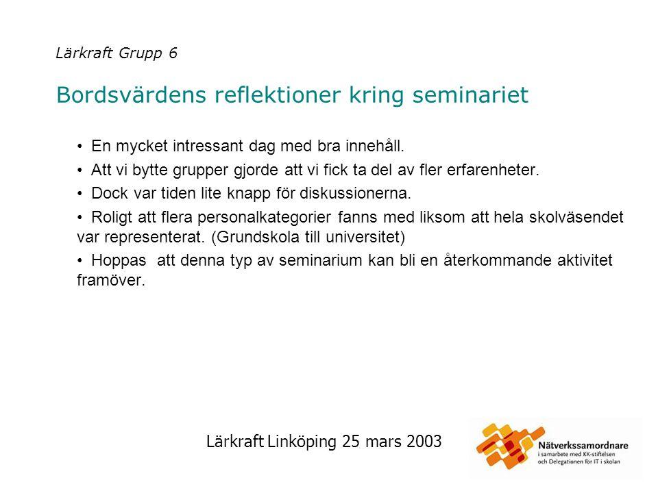Lärkraft Linköping 25 mars 2003 Lärkraft Grupp 6 Bordsvärdens reflektioner kring seminariet En mycket intressant dag med bra innehåll. Att vi bytte gr