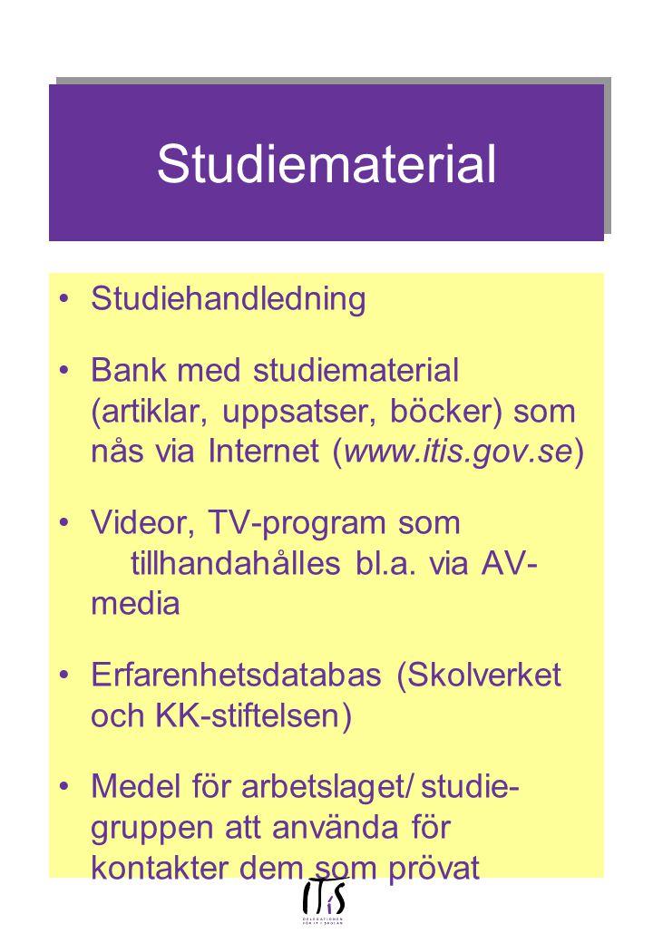 Studiematerial Studiehandledning Bank med studiematerial (artiklar, uppsatser, böcker) som nås via Internet (www.itis.gov.se) Videor, TV-program som t