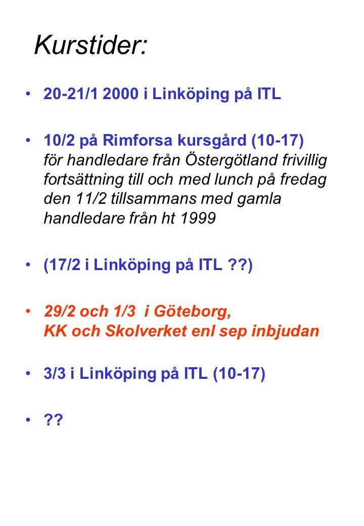 Kurstider: 20-21/1 2000 i Linköping på ITL 10/2 på Rimforsa kursgård (10-17) för handledare från Östergötland frivillig fortsättning till och med lunch på fredag den 11/2 tillsammans med gamla handledare från ht 1999 (17/2 i Linköping på ITL ) 29/2 och 1/3 i Göteborg, KK och Skolverket enl sep inbjudan 3/3 i Linköping på ITL (10-17)