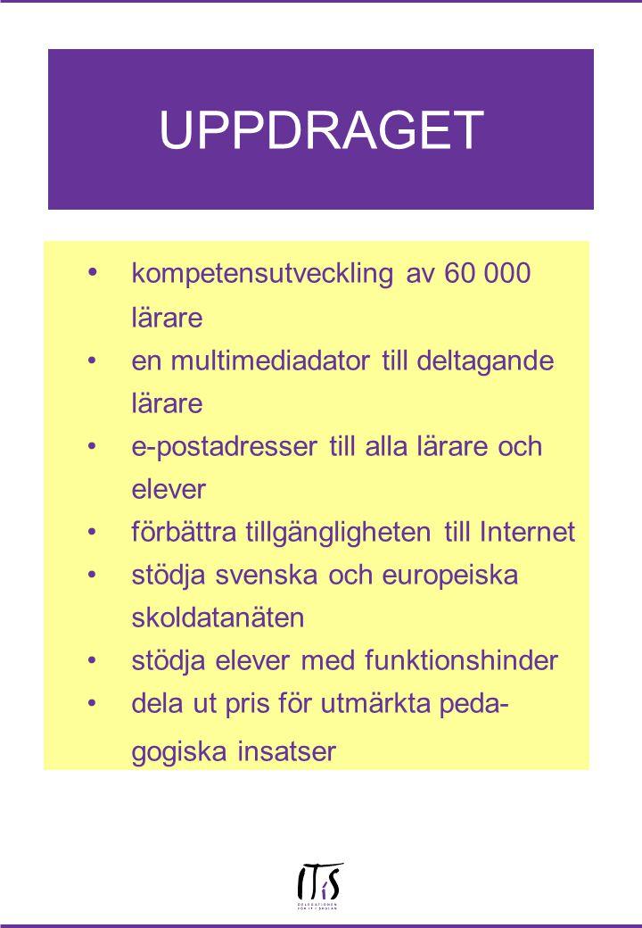 UPPDRAGET kompetensutveckling av 60 000 lärare en multimediadator till deltagande lärare e-postadresser till alla lärare och elever förbättra tillgängligheten till Internet stödja svenska och europeiska skoldatanäten stödja elever med funktionshinder dela ut pris för utmärkta peda- gogiska insatser