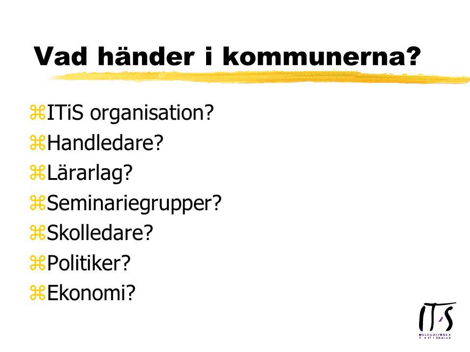 Vad händer i kommunerna. zITiS organisation. zHandledare.