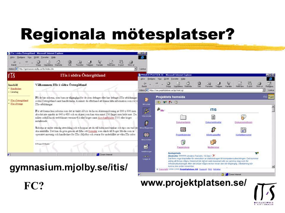 Regionala mötesplatser www.projektplatsen.se/ gymnasium.mjolby.se/itis/ FC