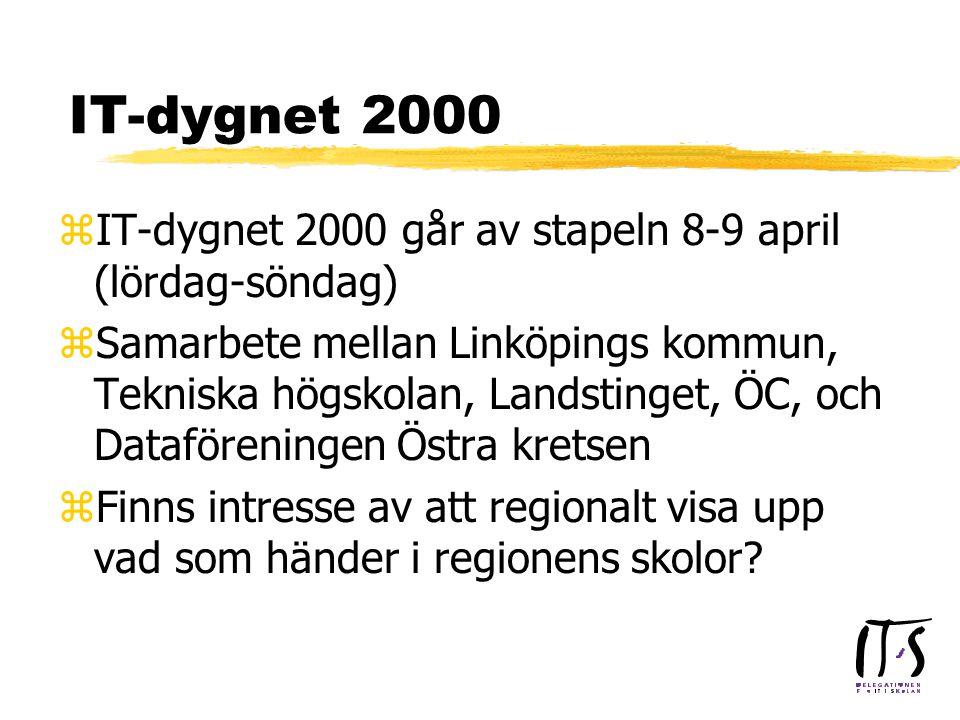 IT-dygnet 2000 zIT-dygnet 2000 går av stapeln 8-9 april (lördag-söndag) zSamarbete mellan Linköpings kommun, Tekniska högskolan, Landstinget, ÖC, och Dataföreningen Östra kretsen zFinns intresse av att regionalt visa upp vad som händer i regionens skolor