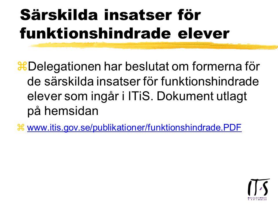 Regler för ITiS logotyp zDelegationens kansli dvs inklusive regionala samordnare har rätt till loggan ITiS - Delegationen för IT i skolan, andra får använda enbart ITiS zLogotypen får inte brytas upp i sina beståndsdelar.
