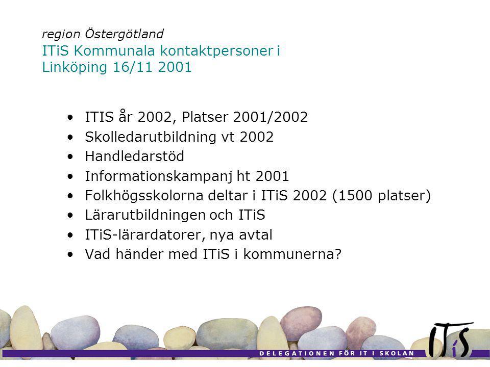 region Östergötland ITiS Kommunala kontaktpersoner i Linköping 16/11 2001 ITIS år 2002, Platser 2001/2002 Skolledarutbildning vt 2002 Handledarstöd Informationskampanj ht 2001 Folkhögsskolorna deltar i ITiS 2002 (1500 platser) Lärarutbildningen och ITiS ITiS-lärardatorer, nya avtal Vad händer med ITiS i kommunerna
