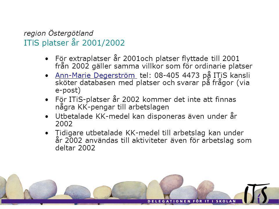 region Östergötland ITiS platser år 2001/2002 För extraplatser år 2001och platser flyttade till 2001 från 2002 gäller samma villkor som för ordinarie platser Ann-Marie Degerström tel: 08-405 4473 på ITiS kansli sköter databasen med platser och svarar på frågor (via e-post)Ann-Marie Degerström För ITiS-platser år 2002 kommer det inte att finnas några KK-pengar till arbetslagen Utbetalade KK-medel kan disponeras även under år 2002 Tidigare utbetalade KK-medel till arbetslag kan under år 2002 användas till aktiviteter även för arbetslag som deltar 2002