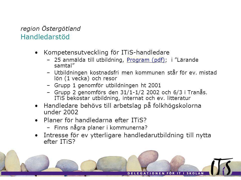 region Östergötland Handledarstöd Kompetensutveckling för ITiS-handledare –25 anmälda till utbildning, Program (pdf); i Lärande samtal Program (pdf) –Utbildningen kostnadsfri men kommunen står för ev.