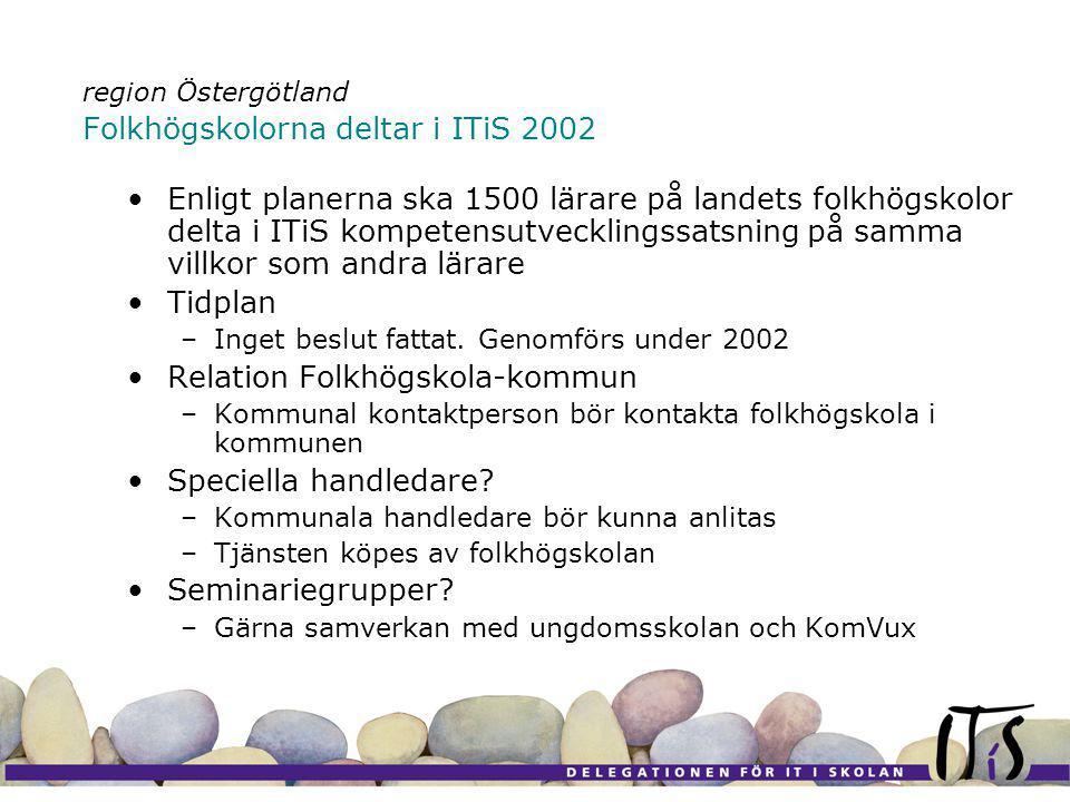 region Östergötland Folkhögskolorna deltar i ITiS 2002 Enligt planerna ska 1500 lärare på landets folkhögskolor delta i ITiS kompetensutvecklingssatsning på samma villkor som andra lärare Tidplan –Inget beslut fattat.