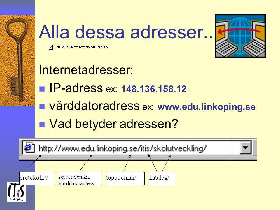 Alla dessa adresser... Internetadresser: n IP-adress ex: 148.136.158.12 n värddatoradress ex: www.edu.linkoping.se n Vad betyder adressen? protokoll:/