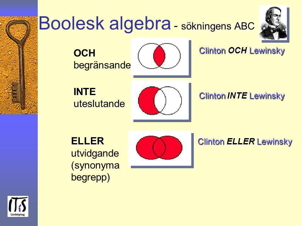 - sökningens ABC Boolesk algebra - sökningens ABC OCH OCH begränsande INTE INTE uteslutande ELLER Clinton ELLER Lewinsky ELLER Clinton ELLER Lewinsky