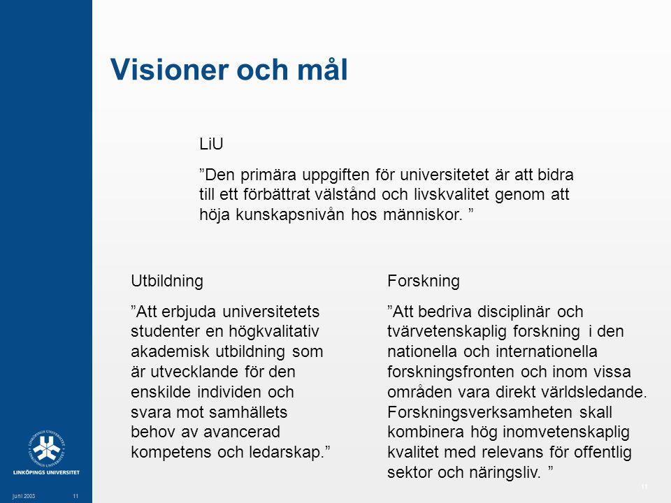 11 juni 200311 Visioner och mål LiU Den primära uppgiften för universitetet är att bidra till ett förbättrat välstånd och livskvalitet genom att höja kunskapsnivån hos människor.