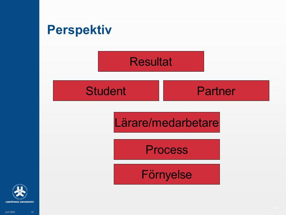 13 juni 200313 Perspektiv Resultat StudentPartner Lärare/medarbetare Process Förnyelse