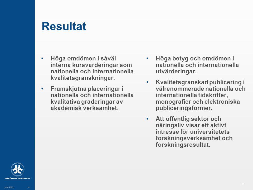 14 juni 200314 Resultat Höga omdömen i såväl interna kursvärderingar som nationella och internationella kvalitetsgranskningar.