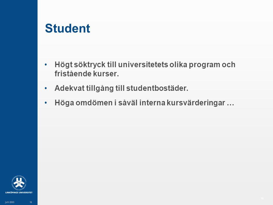 16 juni 200316 Student Högt söktryck till universitetets olika program och fristående kurser.