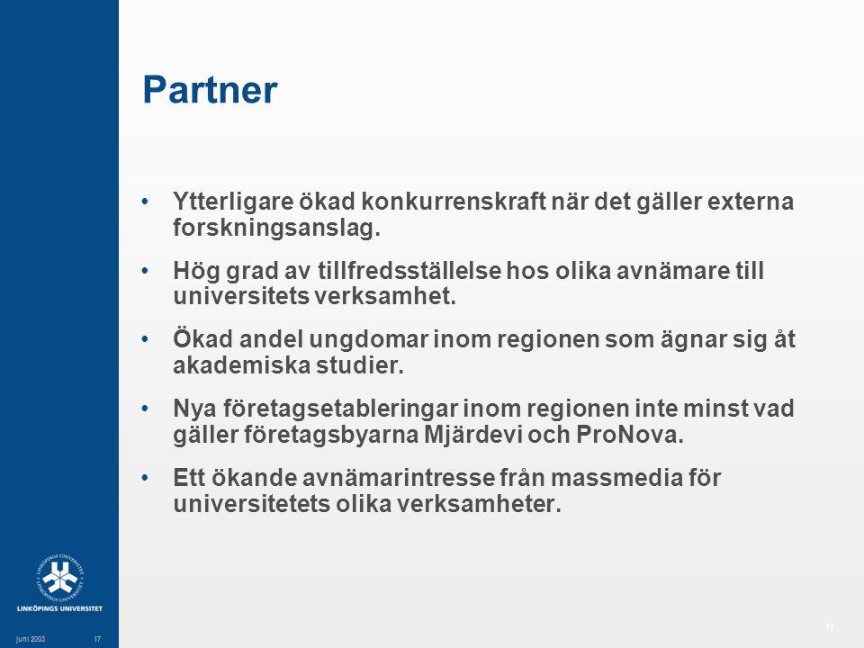 17 juni 200317 Partner Ytterligare ökad konkurrenskraft när det gäller externa forskningsanslag.