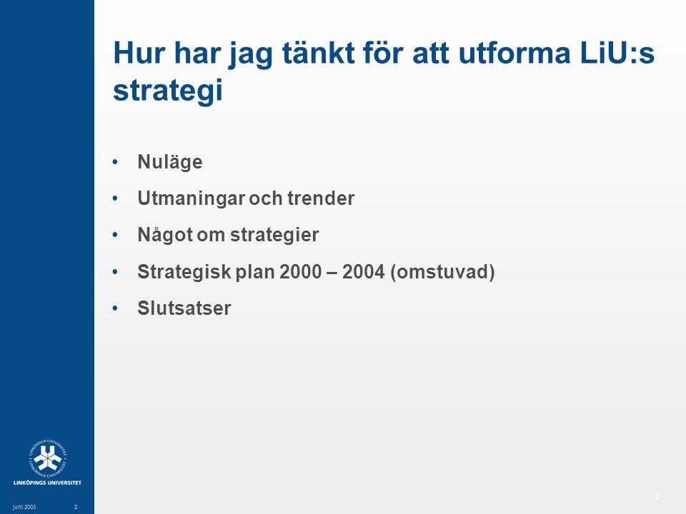 2 juni 20032 Hur har jag tänkt för att utforma LiU:s strategi Nuläge Utmaningar och trender Något om strategier Strategisk plan 2000 – 2004 (omstuvad) Slutsatser
