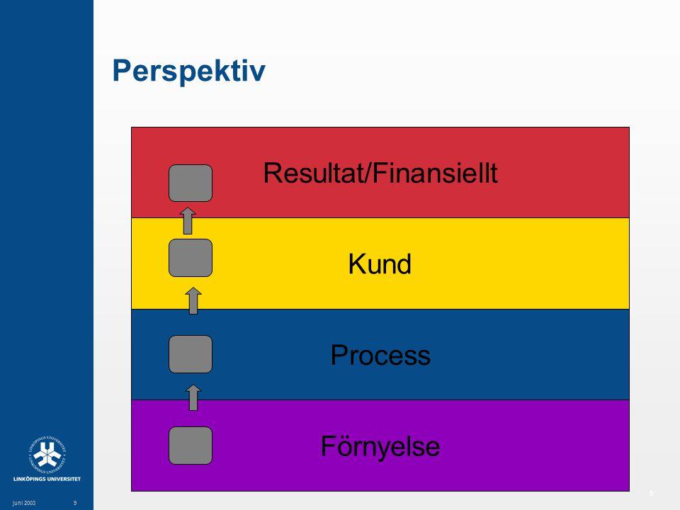 9 juni 20039 Perspektiv Resultat/Finansiellt Kund Process Förnyelse