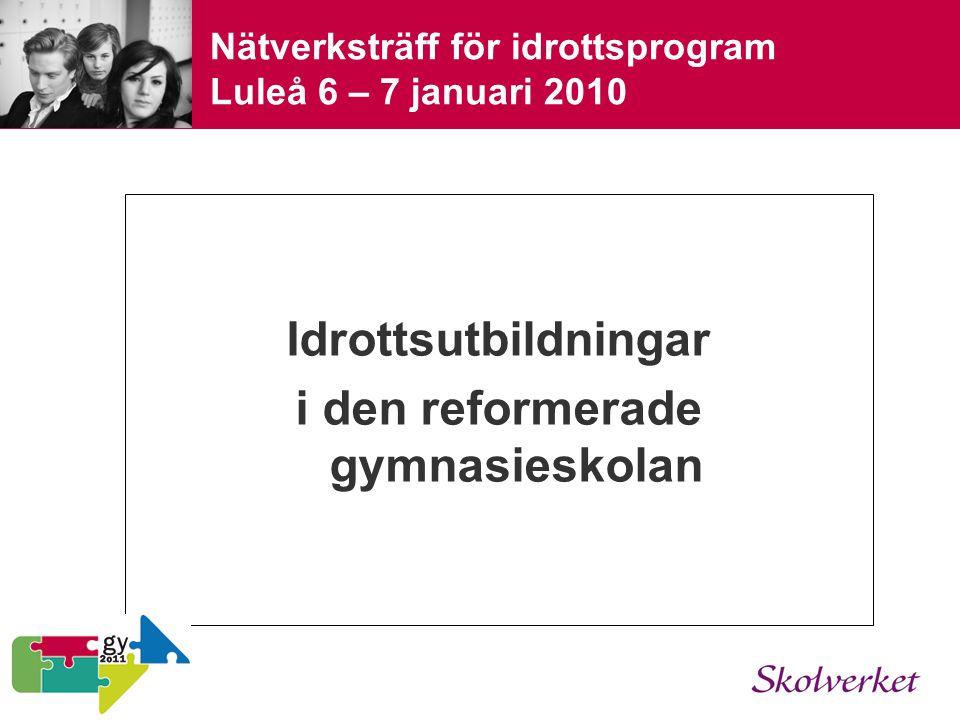 Nätverksträff för idrottsprogram Luleå 6 – 7 januari 2010 Idrottsutbildningar i den reformerade gymnasieskolan