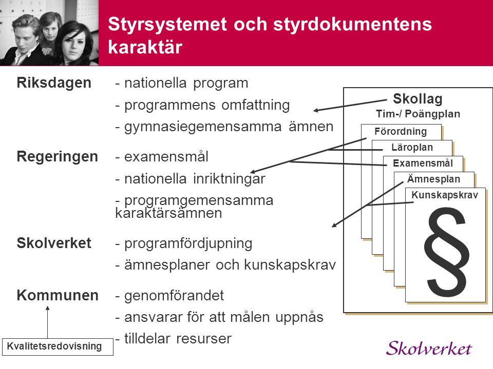 Styrsystemet och styrdokumentens karaktär Riksdagen- nationella program - programmens omfattning - gymnasiegemensamma ämnen Regeringen- examensmål - nationella inriktningar - programgemensamma karaktärsämnen Skolverket- programfördjupning - ämnesplaner och kunskapskrav Kommunen- genomförandet - ansvarar för att målen uppnås - tilldelar resurser Skollag Tim-/ Poängplan Skollag Tim-/ Poängplan Förordning Läroplan Examensmål Ämnesplan Kunskapskrav § Kvalitetsredovisning