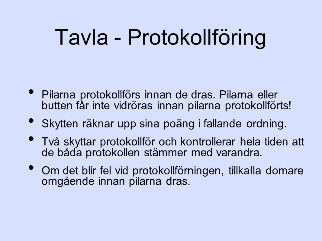 Tavla - Protokollföring Pilarna protokollförs innan de dras. Pilarna eller butten får inte vidröras innan pilarna protokollförts! Skytten räknar upp s
