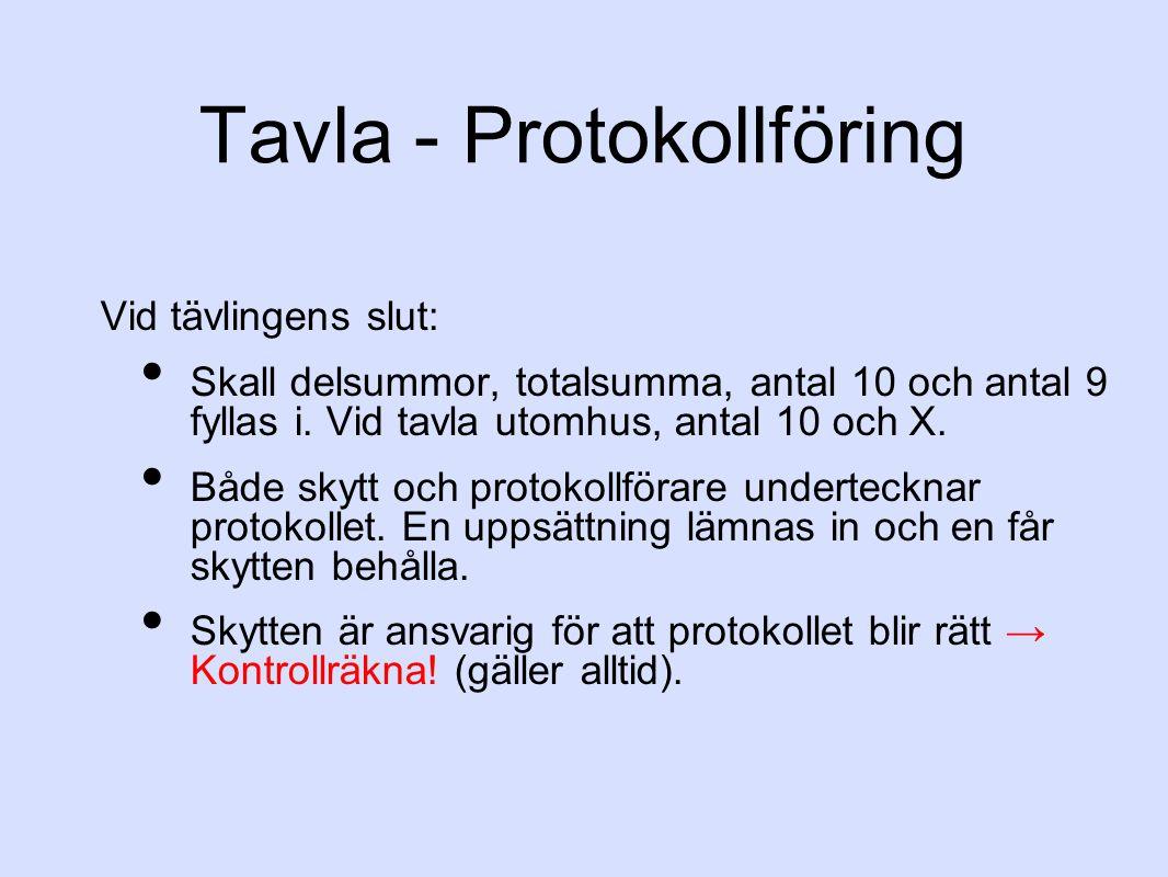 Tavla - Protokollföring Vid tävlingens slut: Skall delsummor, totalsumma, antal 10 och antal 9 fyllas i.