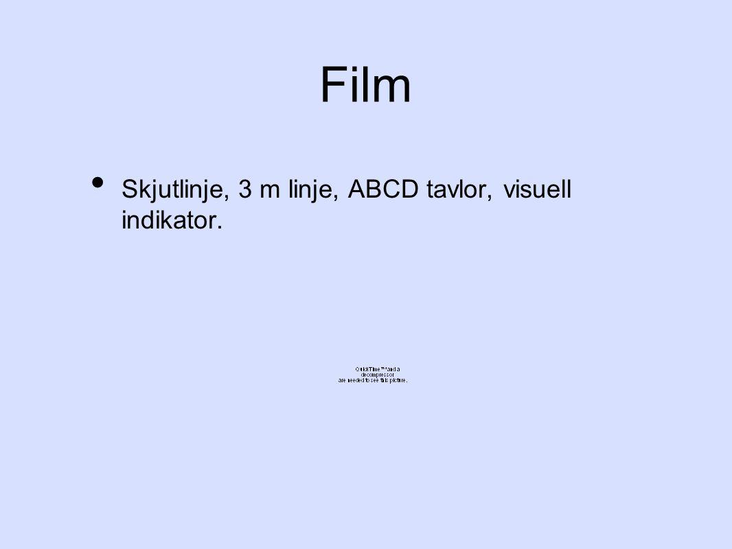 Film Skjutlinje, 3 m linje, ABCD tavlor, visuell indikator.