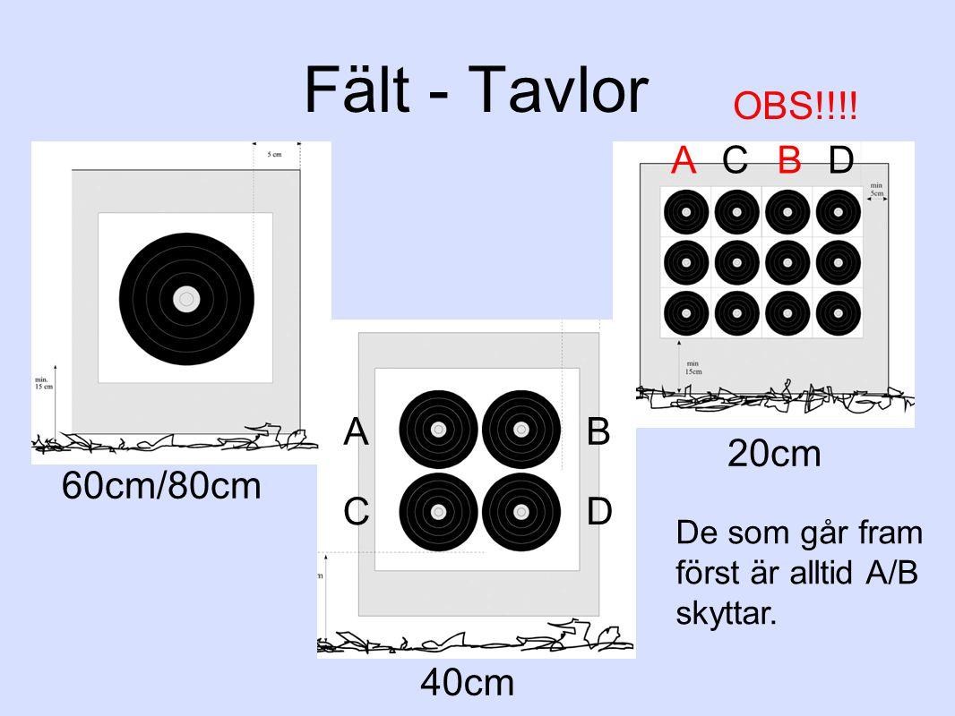 Fält - Tavlor 60cm/80cm 40cm 20cm ABCD A B C D OBS!!!! De som går fram först är alltid A/B skyttar.