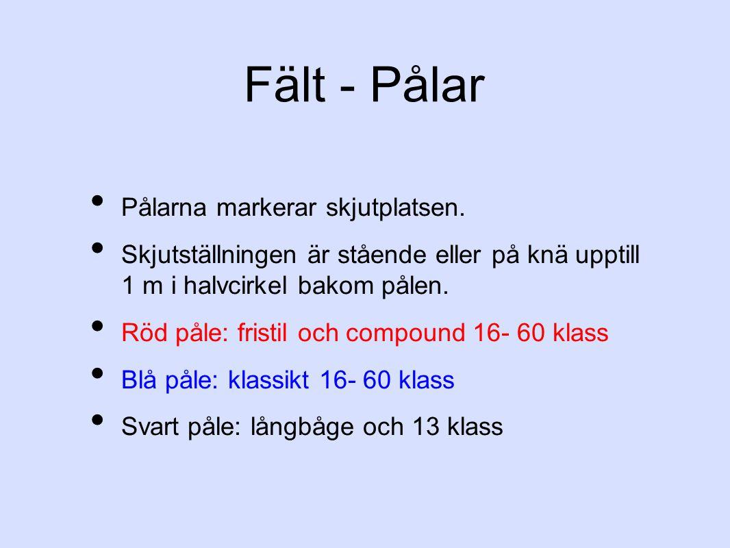 Fält - Pålar Pålarna markerar skjutplatsen. Skjutställningen är stående eller på knä upptill 1 m i halvcirkel bakom pålen. Röd påle: fristil och compo