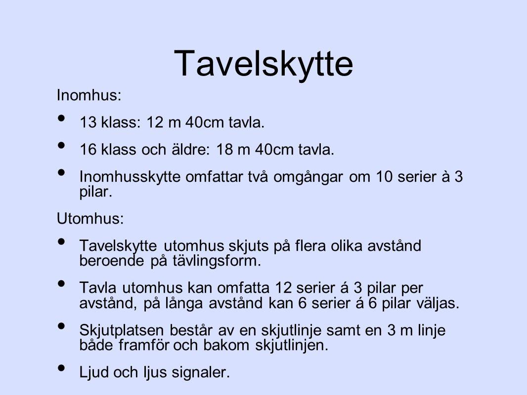 Tavelskytte Inomhus: 13 klass: 12 m 40cm tavla.16 klass och äldre: 18 m 40cm tavla.