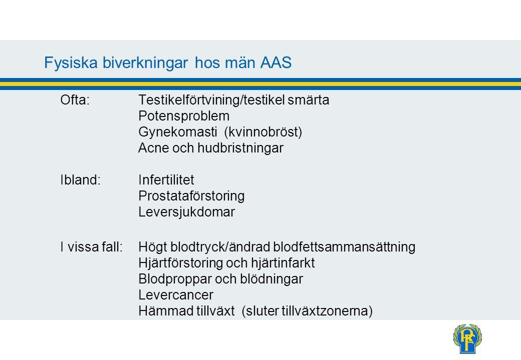 Fysiska biverkningar hos män AAS Ofta:Testikelförtvining/testikel smärta Potensproblem Gynekomasti (kvinnobröst) Acne och hudbristningar Ibland:Infert