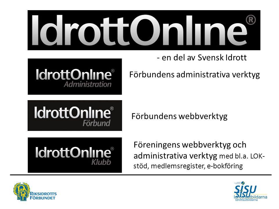 - en del av Svensk Idrott Förbundens administrativa verktyg Förbundens webbverktyg Föreningens webbverktyg och administrativa verktyg med bl.a. LOK- s