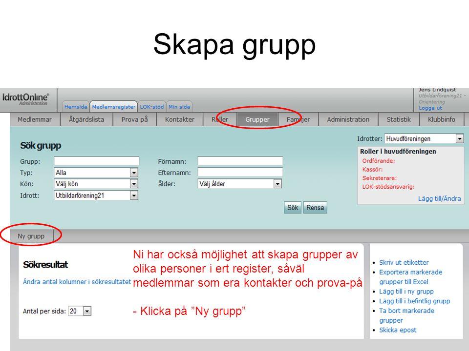 """Skapa grupp Ni har också möjlighet att skapa grupper av olika personer i ert register, såväl medlemmar som era kontakter och prova-på - Klicka på """"Ny"""