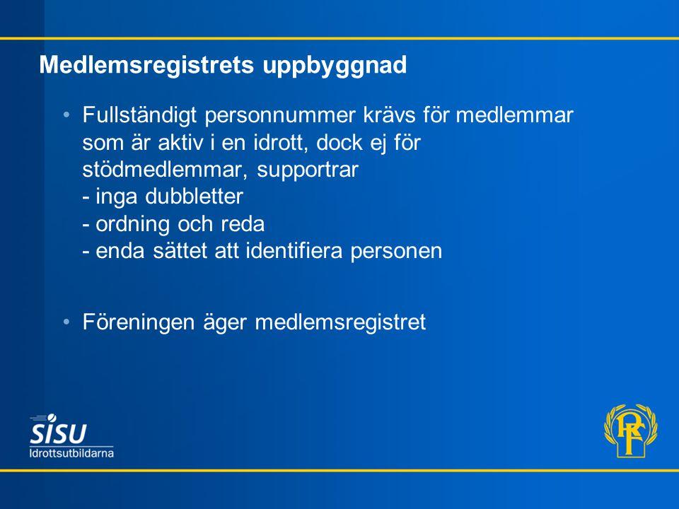 Medlemsregistrets uppbyggnad Fullständigt personnummer krävs för medlemmar som är aktiv i en idrott, dock ej för stödmedlemmar, supportrar - inga dubb