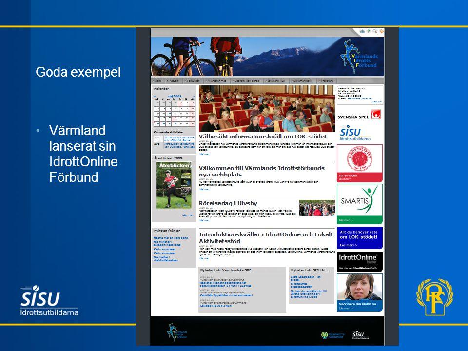 Goda exempel Värmland lanserat sin IdrottOnline Förbund