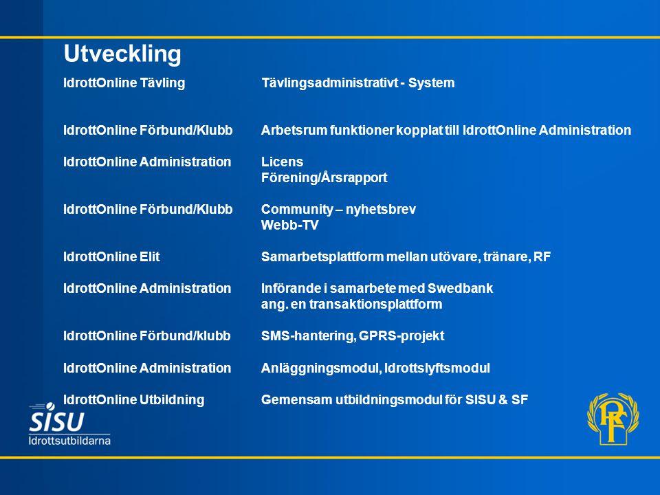 Utveckling IdrottOnline Tävling Tävlingsadministrativt - System IdrottOnline Förbund/Klubb Arbetsrum funktioner kopplat till IdrottOnline Administrati