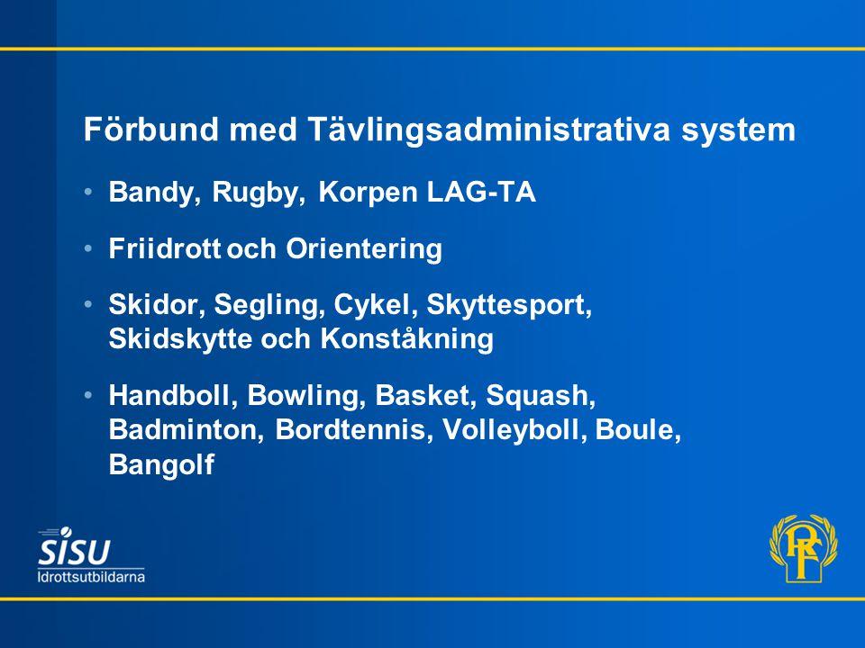 Förbund med Tävlingsadministrativa system Bandy, Rugby, Korpen LAG-TA Friidrott och Orientering Skidor, Segling, Cykel, Skyttesport, Skidskytte och Ko