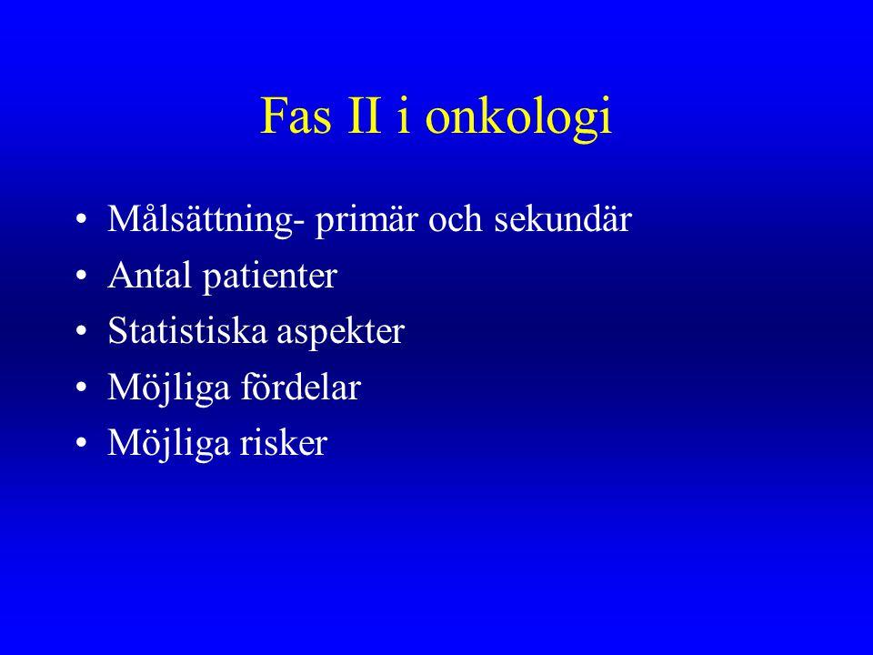 Fas II i onkologi Målsättning- primär och sekundär Antal patienter Statistiska aspekter Möjliga fördelar Möjliga risker