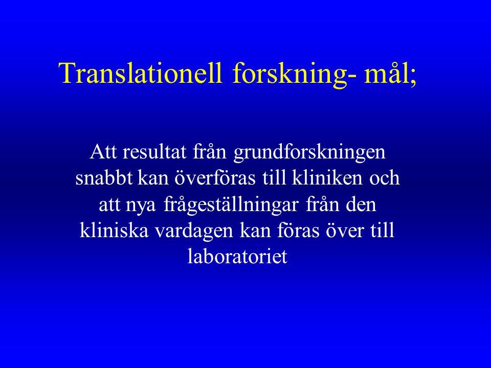 Translationell forskning- mål; Att resultat från grundforskningen snabbt kan överföras till kliniken och att nya frågeställningar från den kliniska va