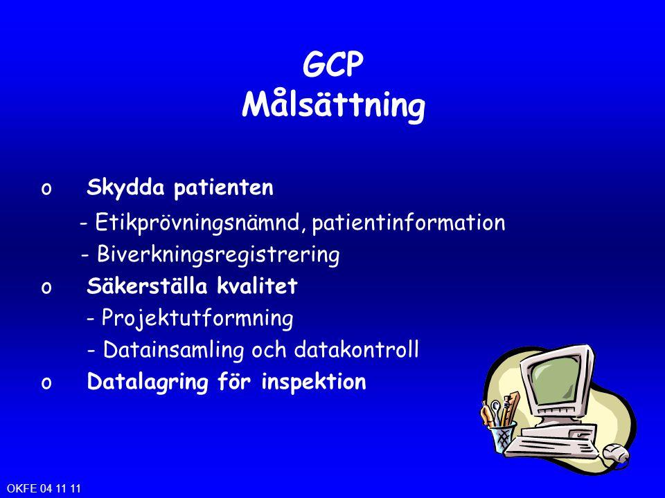 GCP Målsättning oSkydda patienten - Etikprövningsnämnd, patientinformation - Biverkningsregistrering oSäkerställa kvalitet - Projektutformning - Datai