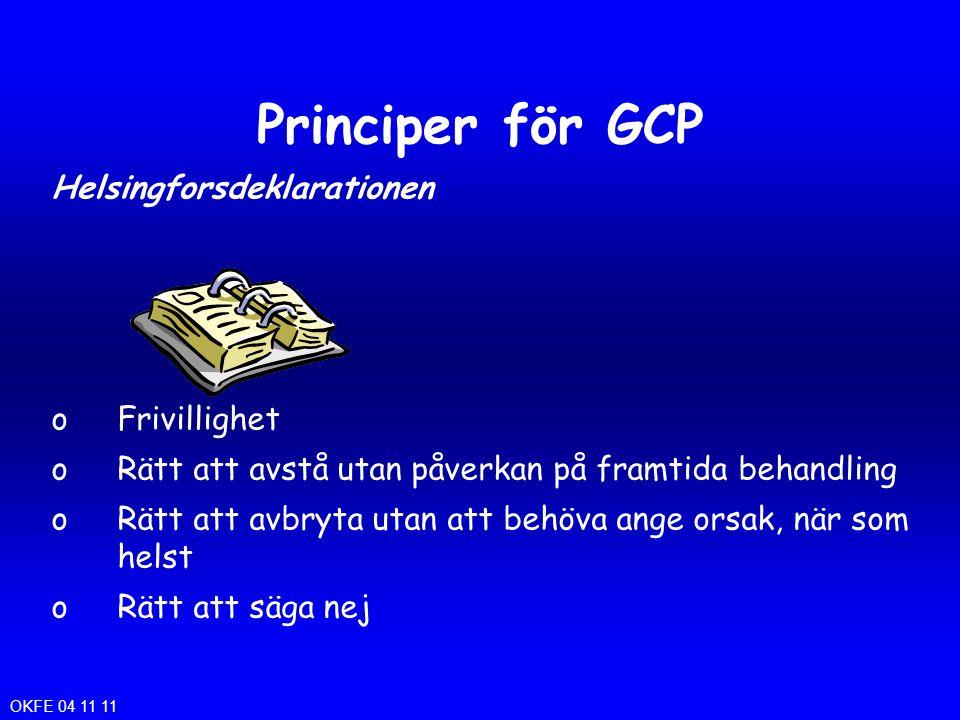 Principer för GCP Helsingforsdeklarationen oFrivillighet oRätt att avstå utan påverkan på framtida behandling oRätt att avbryta utan att behöva ange o