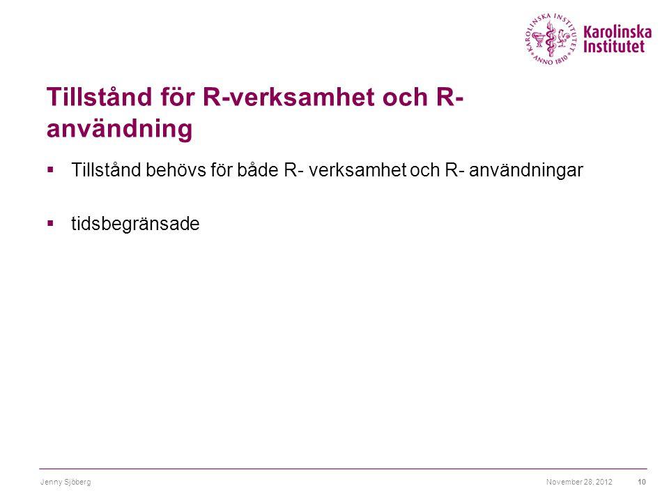 Tillstånd för R-verksamhet och R- användning  Tillstånd behövs för både R- verksamhet och R- användningar  tidsbegränsade November 28, 2012Jenny Sjö