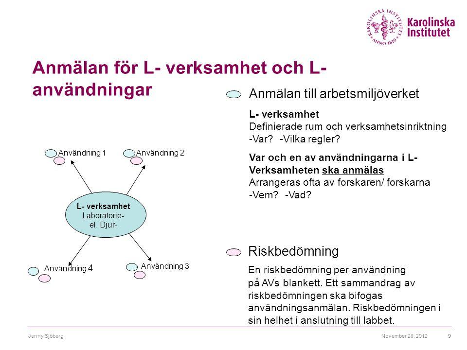 Anmälan för L- verksamhet och L- användningar November 28, 2012Jenny Sjöberg9 Anmälan till arbetsmiljöverket L- verksamhet Definierade rum och verksam