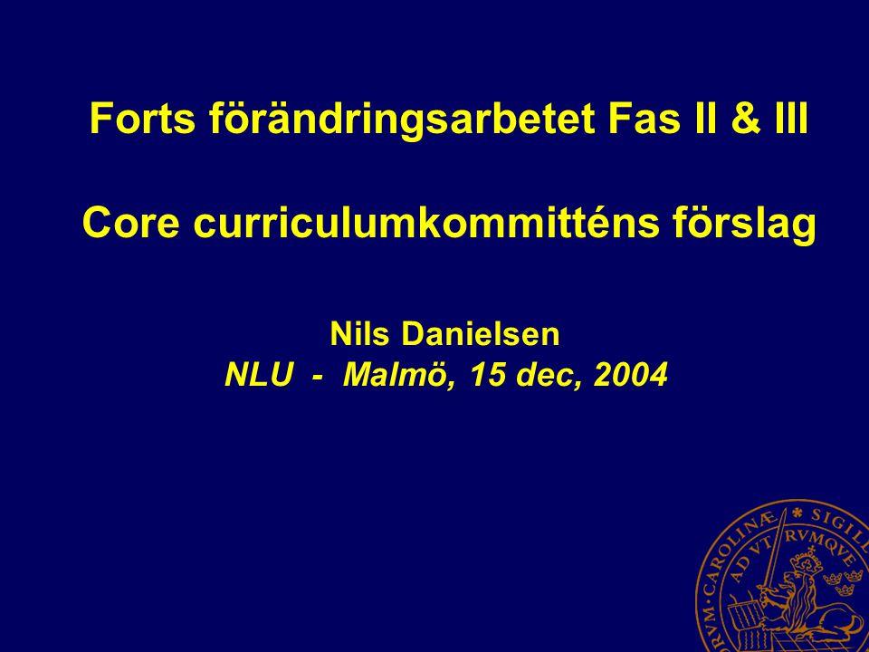 Forts förändringsarbetet Fas II & III Core curriculumkommitténs förslag Nils Danielsen NLU - Malmö, 15 dec, 2004