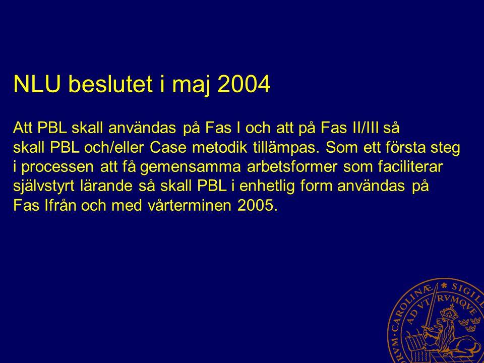 NLU beslutet i maj 2004 Att PBL skall användas på Fas I och att på Fas II/III så skall PBL och/eller Case metodik tillämpas.